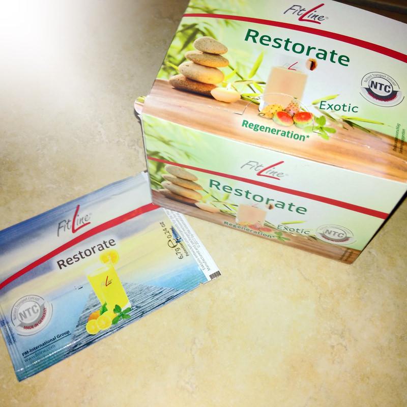 Restorate Fitline Citrus und Exotic in der Verpackung